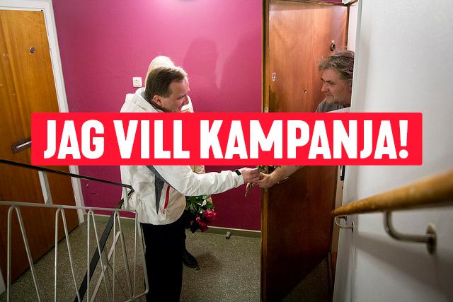 Stefan Löfven kampanjar och knackar dörr